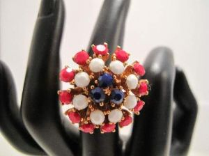1970's 'Americana' Dress Ring ..Red White & Blue
